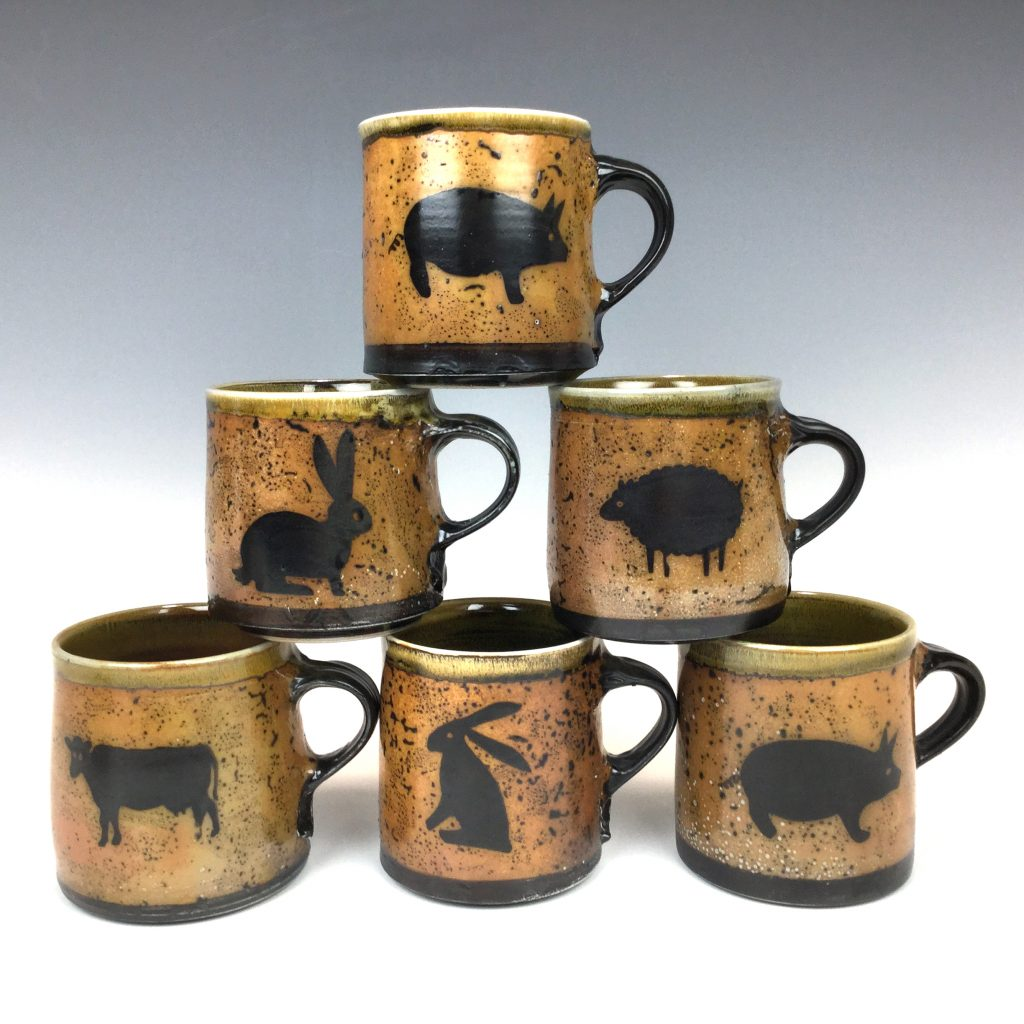 6 mugs Animal series by Terry Plasket