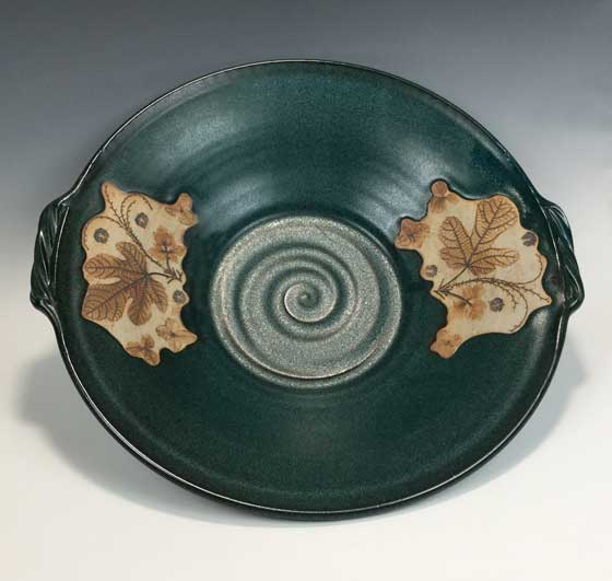 Green platter with natural colored Leaf Print