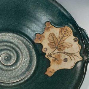 detail of leaf imprinted pottery
