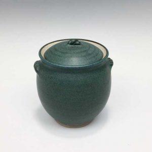 Jar with Convex Lid in Jade Green
